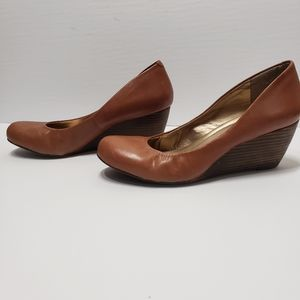 BCBGeneration Brown Leather Wedge Shoes Sz 9